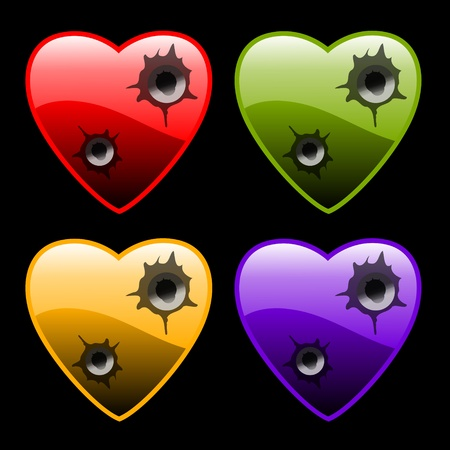 hearts with bullet holes on black Vector