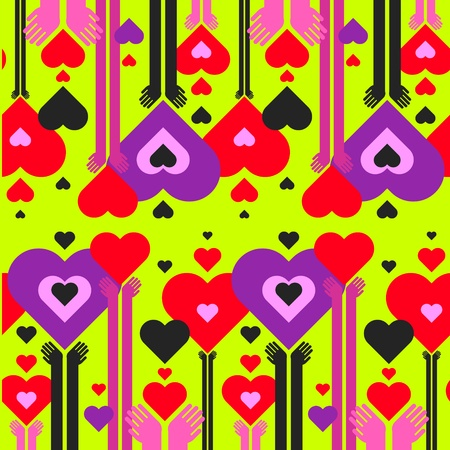 seamless pattern of hearts and hands Vector
