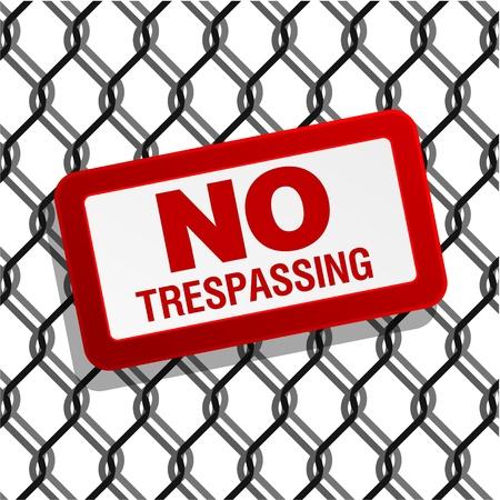 no trespassing: ninguna se�al invadiendo cerca de alambre