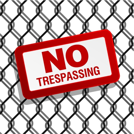 no trespassing: no trespassing sign on chain link fence Illustration