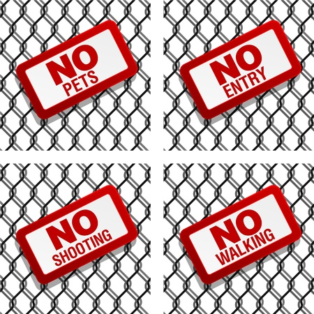 prohibition signs on chain link fence Stock Vector - 12345191