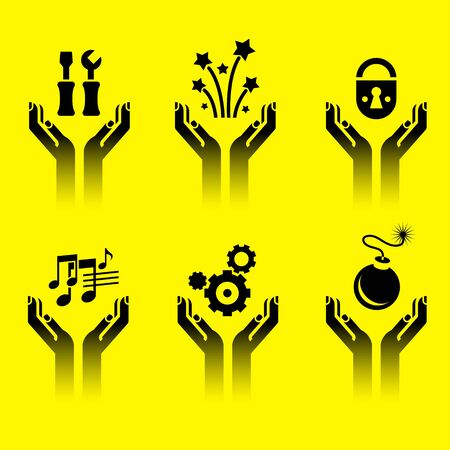 icons of human hands holding various symbols Vector