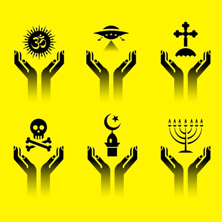 minarets: set of icons of human hands with religion symbols Illustration