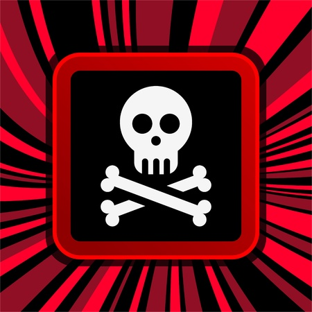 sign of jolly roger on curly background