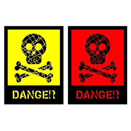 signs of human skull with bones on yellow and red Stock Vector - 12345190