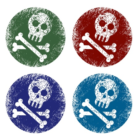 grunge jolly roger signs Vector