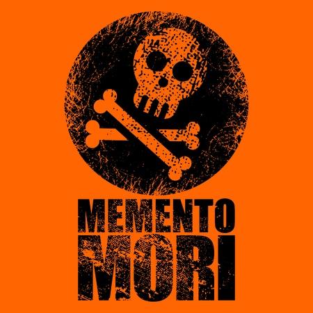 grunge jolly roger sign on orange background Stock Vector - 12345192