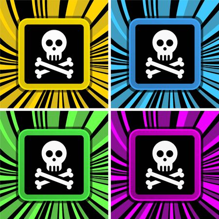 no symbol: jolly roger sign on colorful curly background