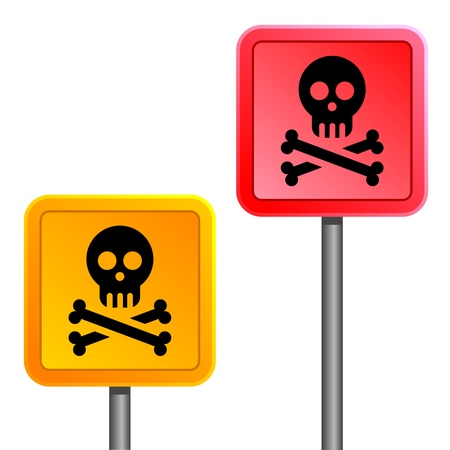 sign with yellow and red human skulls Stock Vector - 12345175
