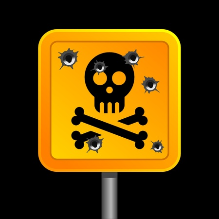 sign of human skull with bones with bullet holes Stock Vector - 12345166