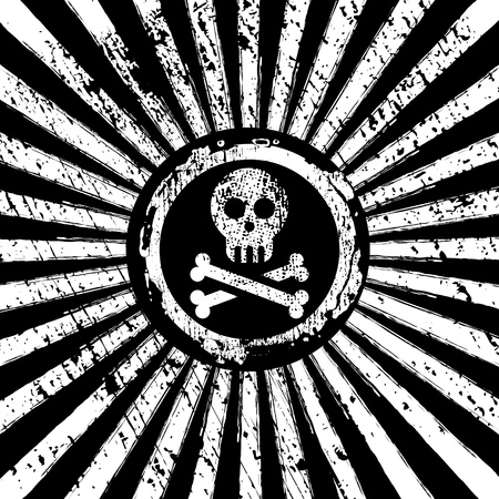 jolly roger on risign sun background