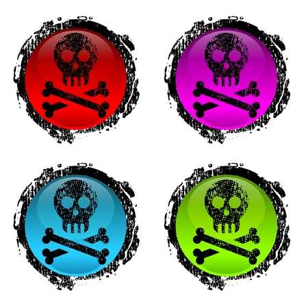 jolly roger: grunge signs of human skull on white