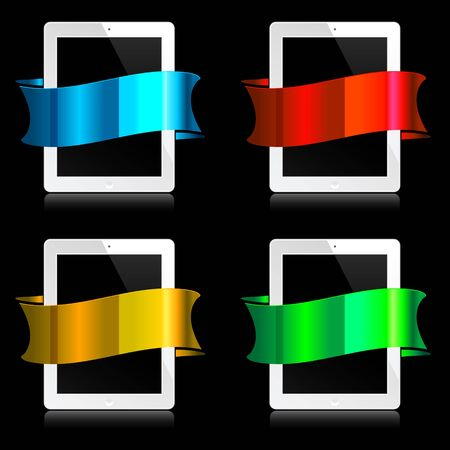 white tablets with colorful ribbons on black Vector