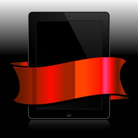 black tablet with red ribbon on black