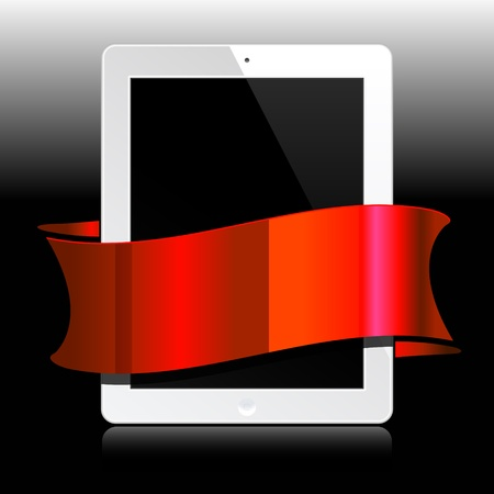 white tablet with red ribbon on black
