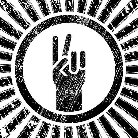 grunge blanco y negro, signo de la victoria Ilustración de vector