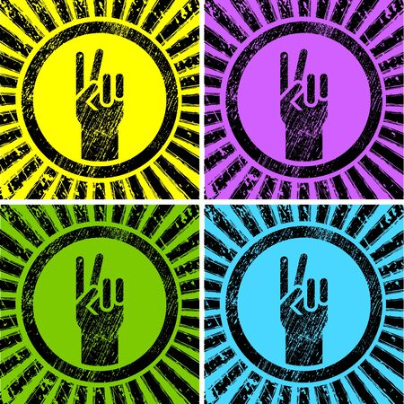 gay flag: colorful grunge victory signs on rising sun Illustration
