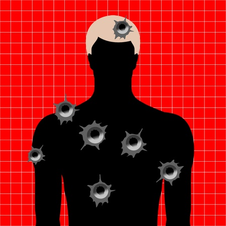human target with bullet holes Illustration