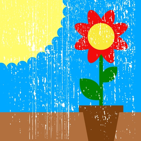 illustration of sun and flower in pot