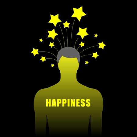 silhouette of human body with stars upon head Stock Vector - 12345206