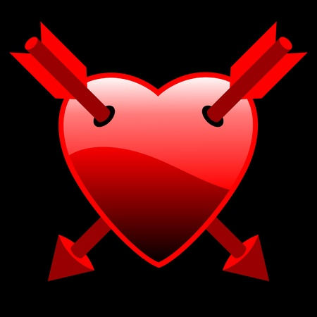 enamoured: red heart with two arrows