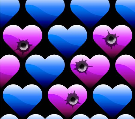 wallpaper of hearts with bullet holes Stock Vector - 12345250
