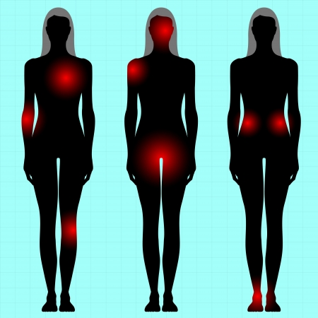 human body with area of pain Vector