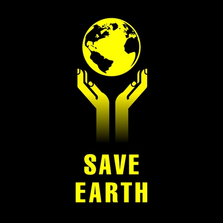 earth in human hands on black Stock Vector - 12345208