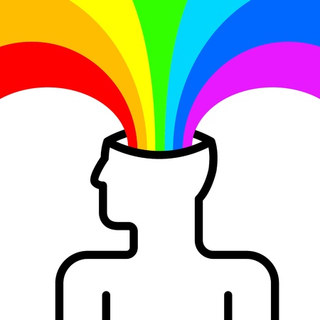 mental object: state of happiness with rainbow out of head