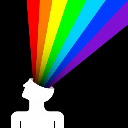 power of the brain: stato di felicit� con arcobaleno su testa