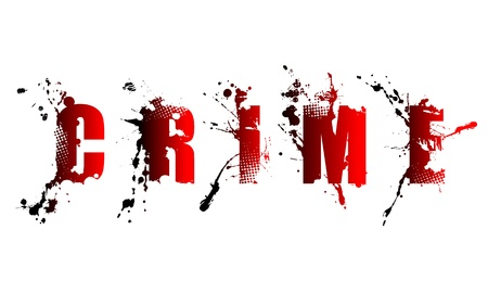 paint gun: grunge crime word on white background