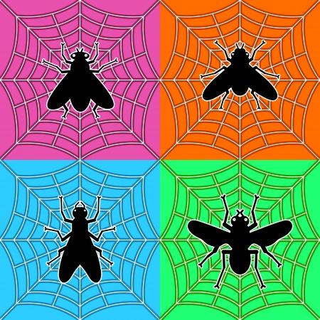 various black flies in spider Stock Vector - 16402531
