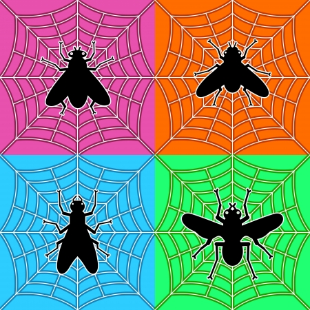 various black flies in spider Stock Vector - 16402531