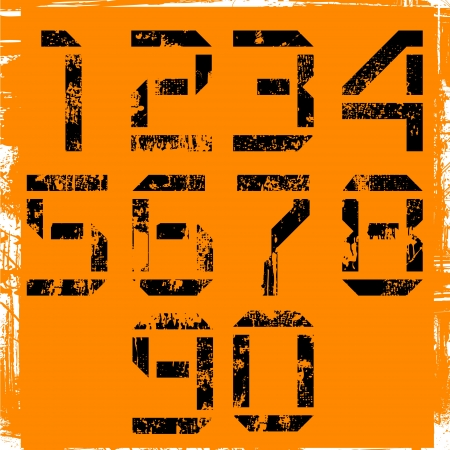 grunge display numbers on orange Vector