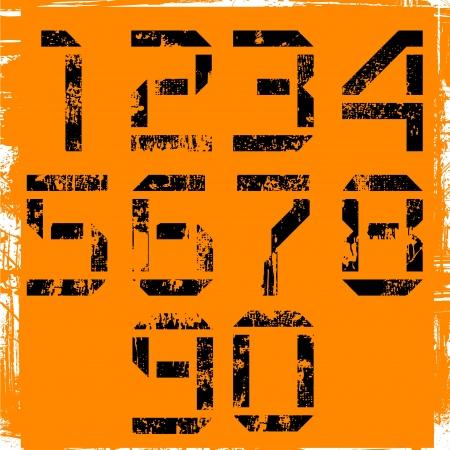 steel tanks: grunge display numbers on orange