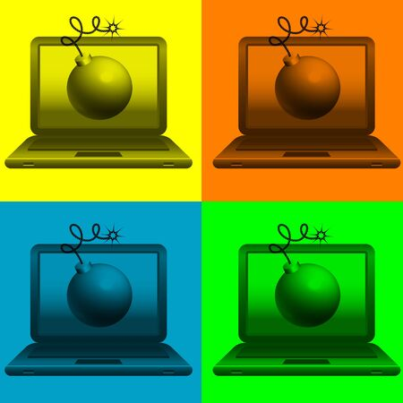 image of bombs on laptop monitor on various backgrounds Vector