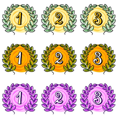 laurel wreath with place numbers on white Vector