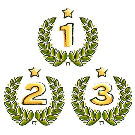 primer lugar: corona de laurel con números de lugar y estrella sobre fondo blanco