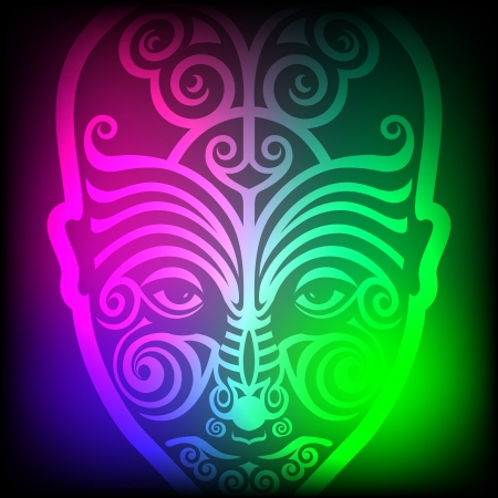 maori face tattoo on colorful background  Vector
