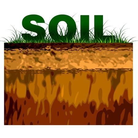 terreno: struttura del suolo taglio su fondo nero Vettoriali