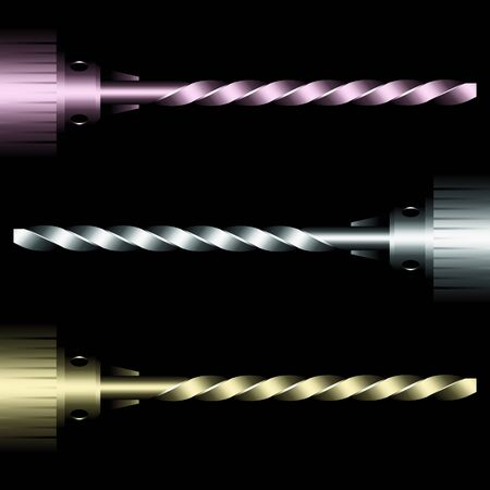 chuck: various drill bits on black background Illustration