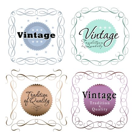 color vintage seals with text on white Vector