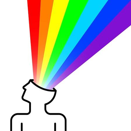 Zustand des Gl�cks mit Regenbogen aus dem Kopf