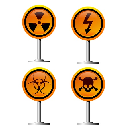 warning trefoil, high voltage and jolly roger signs  Stock Vector - 16627719
