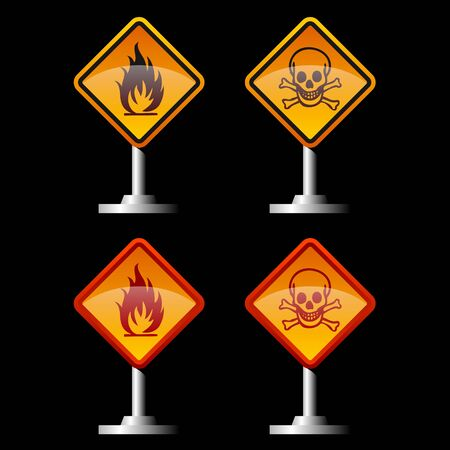 warning fire and jolly roger signs  Illustration