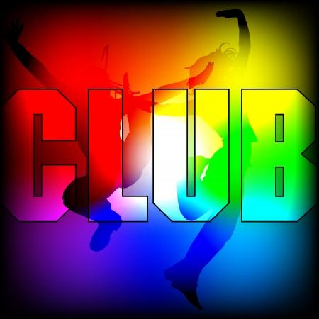 club dj: silhouette of dancing figure on shining background