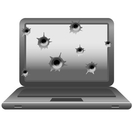 gunfire: black and white image of laptop with gun shots on monitor