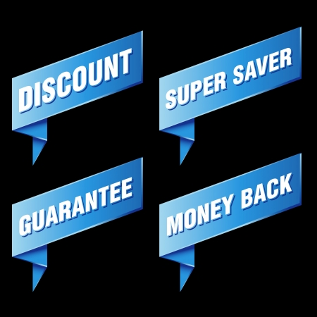 super market: various discount tags and labels
