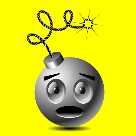 yellow smiley bomb ready to boom Vector