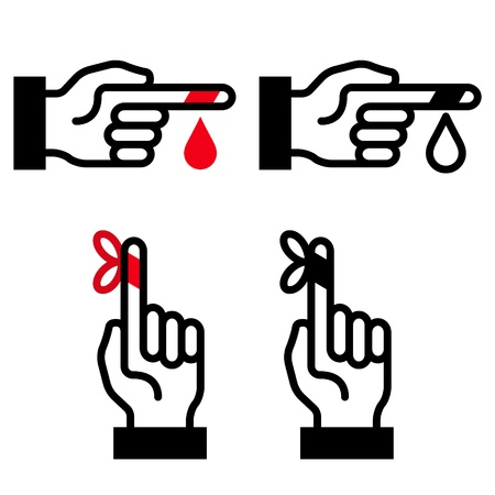 black and white first aid hand symbols Vector
